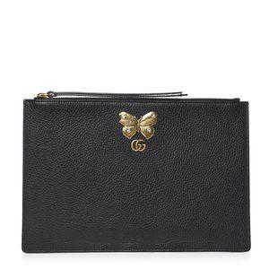 Gucci Pebbled Calfskin Butterfly Zip Pouch Black